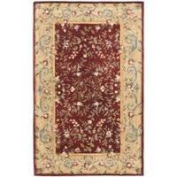 Safavieh Handmade Gardens Red/ Dark Beige Hand-spun Wool Rug - 5' x 8'