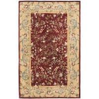 Safavieh Handmade Gardens Red/ Dark Beige Hand-spun Wool Rug - 4' x 6'