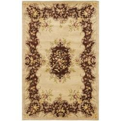 Safavieh Handmade French Bouquet Ivory/ Rust Hand-spun Wool Rug (5' x 8')