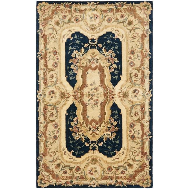 Safavieh Handmade Aubusson Plaisir Navy/ Beige Wool Rug - 4' x 6'