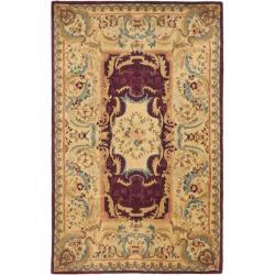 Safavieh Handmade Aubusson Limours Burgundy/ Gold Wool Rug (5' x 8')