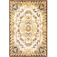 Safavieh Handmade Aubusson Beynes Beige/ Brown Wool Rug - 4' x 6'