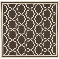 Safavieh Hand-woven Moroccan Reversible Dhurrie Chocolate/ Ivory Wool Rug (8' Square)
