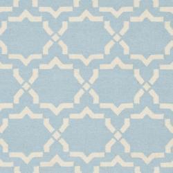 Safavieh Moroccan Light Blue/Ivory Reversible Dhurrie Wool Area Rug (10' x 14') - Thumbnail 2