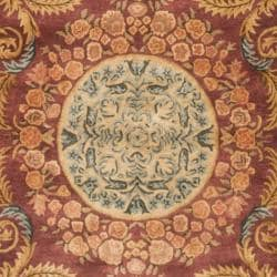 Safavieh Handmade Aubusson Bonnelles Red/ Beige Wool Rug (5' x 8') - Thumbnail 2