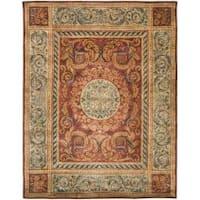 Safavieh Handmade Aubusson Bonnelles Red/ Beige Wool Rug - 5' x 8'
