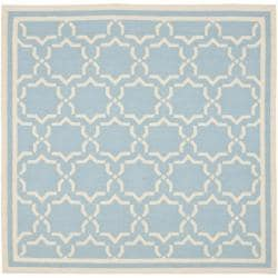 Safavieh Moroccan Light Blue/Ivory Reversible Dhurrie Wool Area Rug (8' Square)