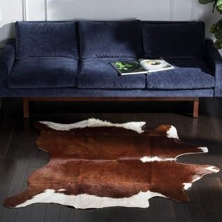 Safavieh Handpicked Hacienda Argentinian Casual Brown Cowhide Leather Rug - 4' x 6'