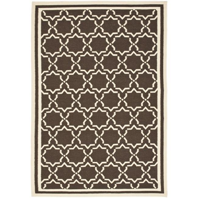 Safavieh Hand-woven Moroccan Reversible Dhurrie Chocolate/ Ivory Wool Rug - 8' x 10'