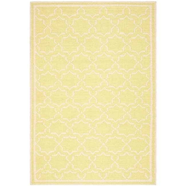 Safavieh Moroccan Light Green/Ivory Reversible Dhurrie Wool Area Rug - 10' x 14'