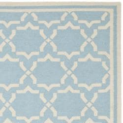 Safavieh Hand-woven Moroccan Reversible Dhurrie Light Blue/ Ivory Wool Rug (9' x 12') - Thumbnail 1