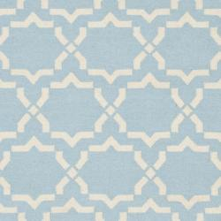 Safavieh Hand-woven Moroccan Reversible Dhurrie Light Blue/ Ivory Wool Rug (9' x 12') - Thumbnail 2