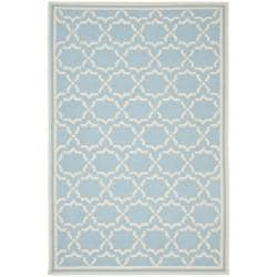 Safavieh Hand-woven Moroccan Reversible Dhurrie Light Blue/ Ivory Wool Rug - 9' x 12' - Thumbnail 0