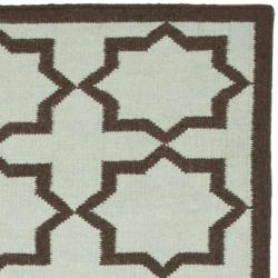 Safavieh Hand-woven Moroccan Reversible Dhurrie Light Blue/ Chocolate Wool Rug (9' x 12') - Thumbnail 1