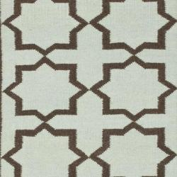 Safavieh Hand-woven Moroccan Reversible Dhurrie Light Blue/ Chocolate Wool Rug (9' x 12') - Thumbnail 2