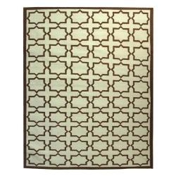 Safavieh Hand-woven Moroccan Reversible Dhurrie Light Blue/ Chocolate Wool Rug (9' x 12')