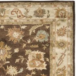 Safavieh Handmade Zeigler Brown/ Ivory Hand-spun Wool Rug (8' x 10') - Thumbnail 1