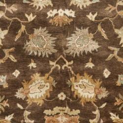 Safavieh Handmade Zeigler Brown/ Ivory Hand-spun Wool Rug (8' x 10') - Thumbnail 2
