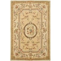 Safavieh Handmade Light Gold/ Beige Hand-spun Wool Rug - 5' x 8'