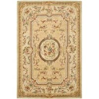 Safavieh Handmade Light Gold/ Beige Hand-spun Wool Rug - 6' x 9'