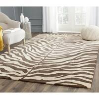 Safavieh Handmade Zebra Beige Hand-spun Wool Rug - 6' x 9'