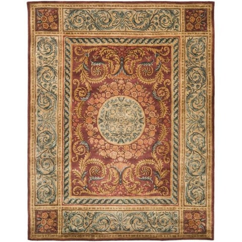 Safavieh Handmade Aubusson Bonnelles Red/ Beige Wool Rug - 9' x 12'