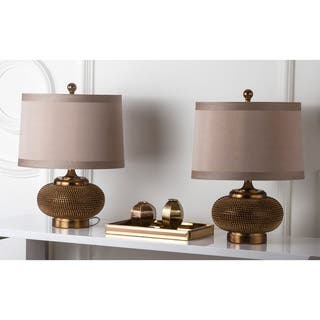 Safavieh Lighting 19-inch Gold Beaded Table Lamps (Set of 2)|https://ak1.ostkcdn.com/images/products/6128544/P13792184.jpg?impolicy=medium