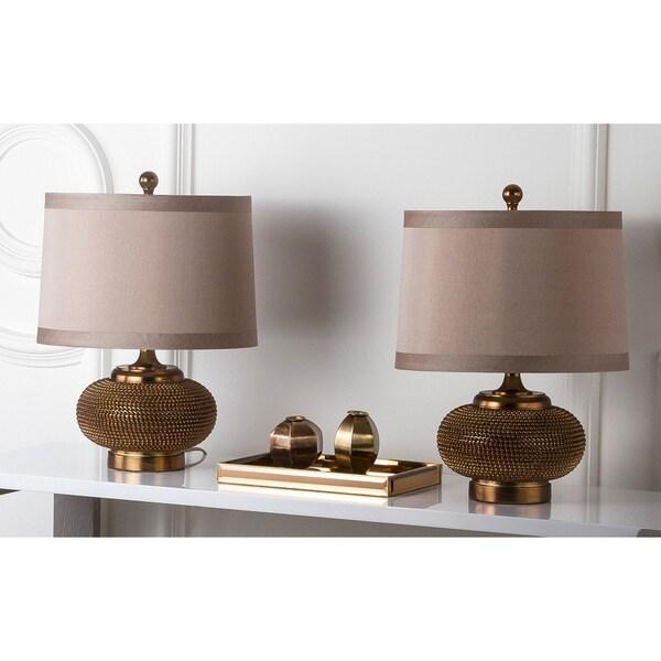 Safavieh Lighting 19-inch Gold Beaded Table Lamp (Set of 2)