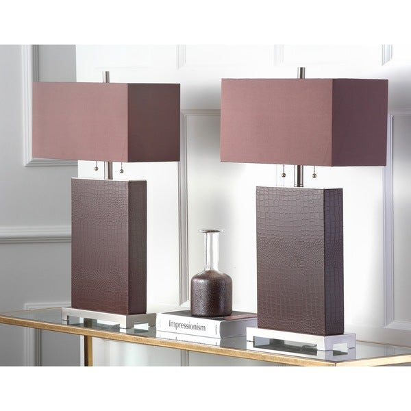Safavieh Lighting 29.5-inch 2-light Croc Print Leather Table Lamps (Set of 2)