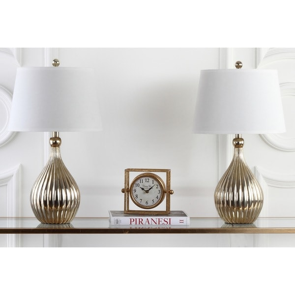 Safavieh Lighting 27.5-inch Champagne Curved Table Lamps (Set of 2)