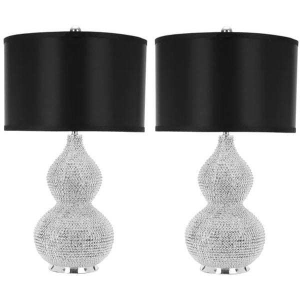 safavieh lighting 24inch silver beaded table lamps set of 2