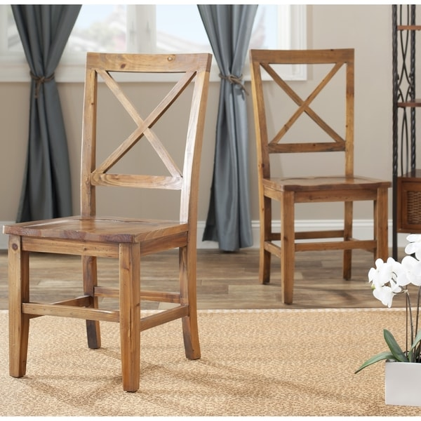 Safavieh Country Classic Dining Chester Maple X-back Side Chairs (Set of 2)