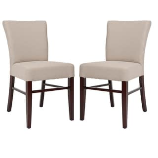 Safavieh Parsons Dining Bolton Beige Linen Side Chairs (Set of 2)