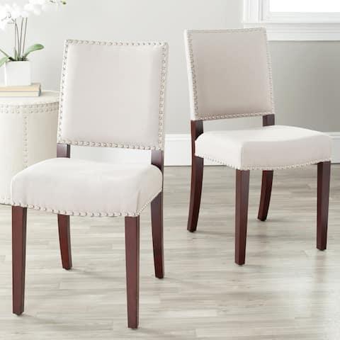 "Safavieh Dining Madison Nailhead Cream Linen Dining Chairs (Set of 2) - 17.3""x22""x35"""
