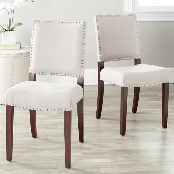 Safavieh En Vogue Dining Madison Nailhead Cream Linen Dining Chairs (Set of 2)