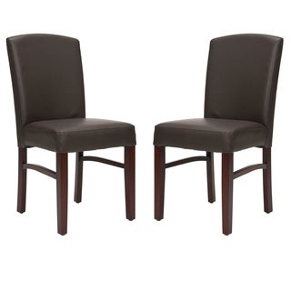 Safavieh Parsons Dining Broadway Brown Leather Dining Chairs (Set of 2)