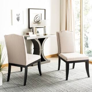 Safavieh En Vogue Dining Laurent Taupe Nailhead Dining Chairs (Set of 2)