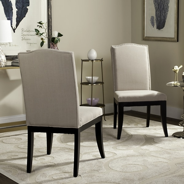 Safavieh En Vogue Dining Laurent Taupe Nailhead Side Chairs (Set of 2)
