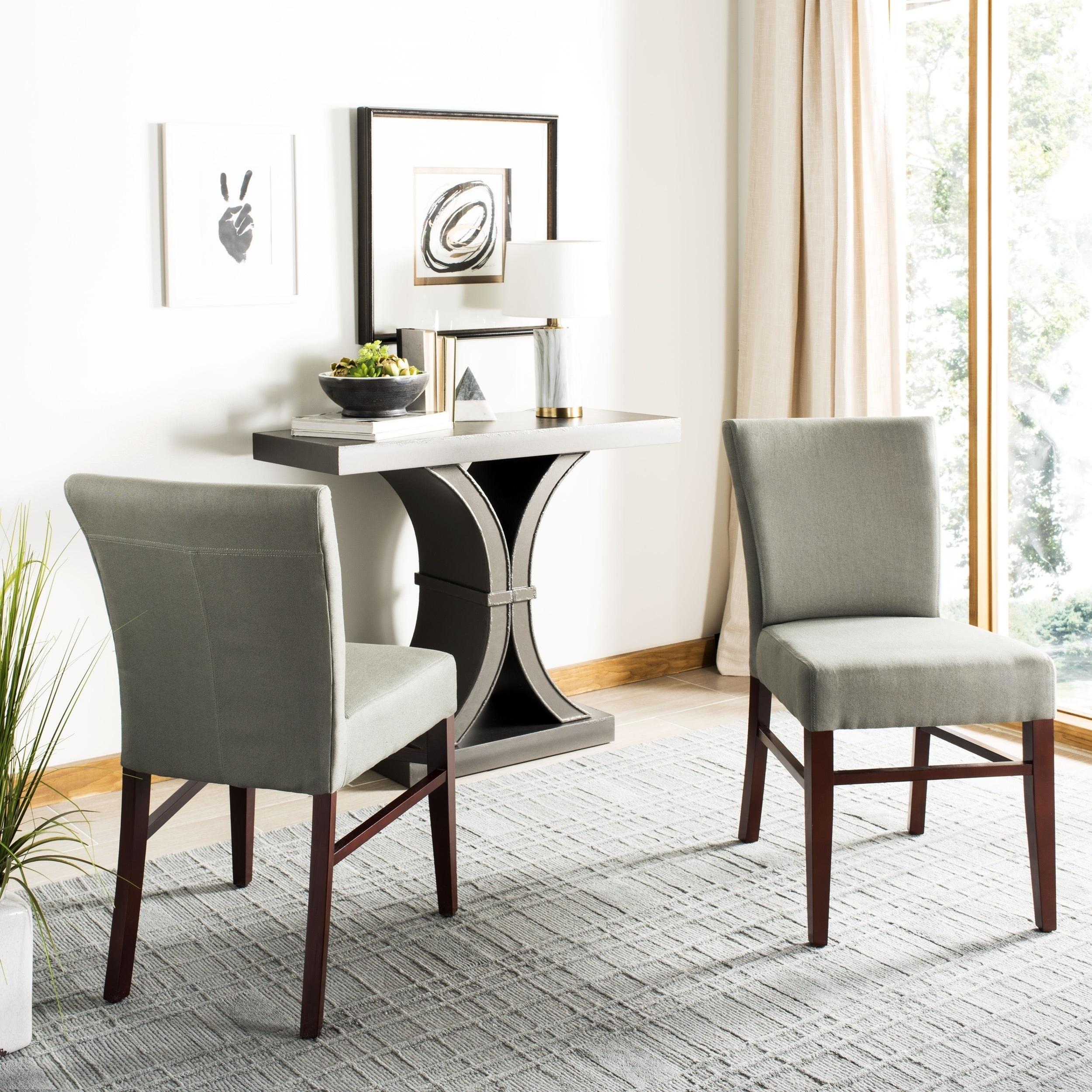 Strange Safavieh Dining Parsons Bolton Grey Green Linen Dining Chairs Set Of 2 Ncnpc Chair Design For Home Ncnpcorg