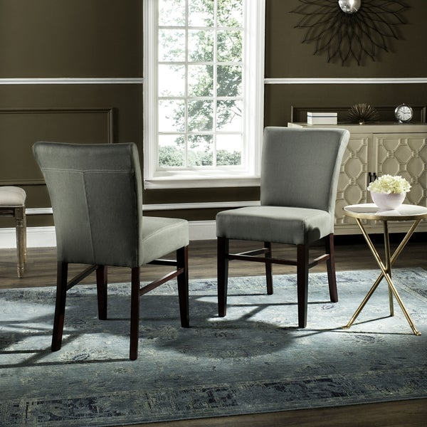 Safavieh Parsons Dining Bolton Grey Green Linen Side Chairs (Set of 2)
