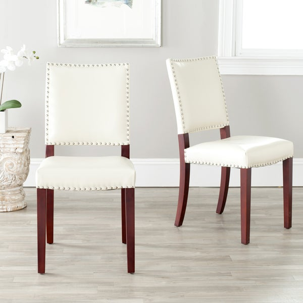Safavieh En Vogue Dining Madison Nailhead Cream Leather Side Chairs (Set of 2)