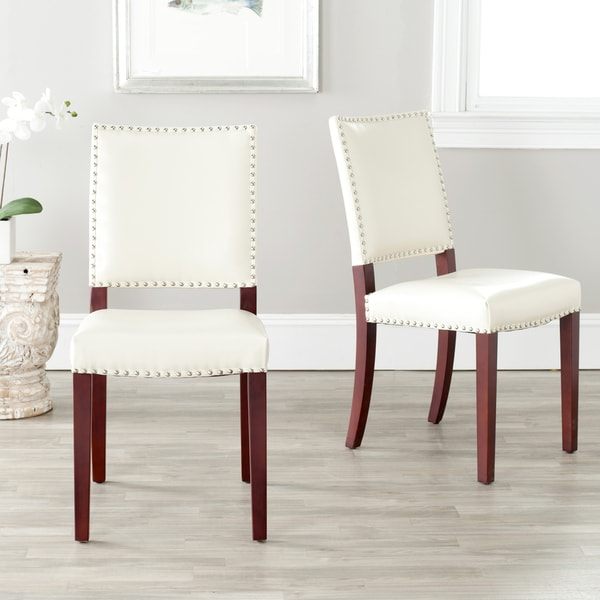 Safavieh En Vogue Dining Madison Nailhead Cream Leather Dining