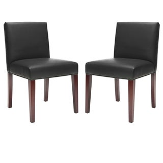 Safavieh Parsons Dining Amsterdam Grey Black Leather Dining Chairs (Set of 2)