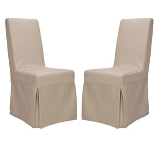 Safavieh Parsons Dining Durham Taupe Slipcover Dining Chairs (Set Of 2)
