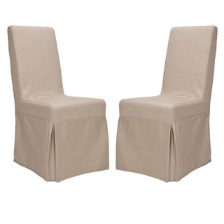 "Link to Safavieh Dining Parsons Durham Taupe Slipcover Dining Chairs (Set of 2) - 18.7"" x 23.2"" x 39.5"" Similar Items in Dining Room & Bar Furniture"