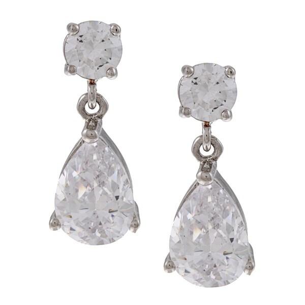 Silvertone Cubic Zirconia Pear Dangle Earrings