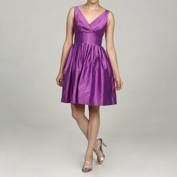 Eliza J Women's Lilac Silk Empire Stitch Party Dress