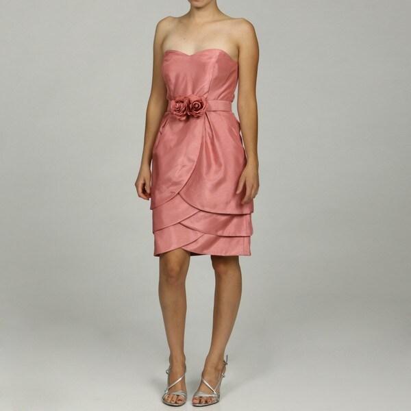 Eliza J Women's Strapless Rosette Detailed Belted Dress