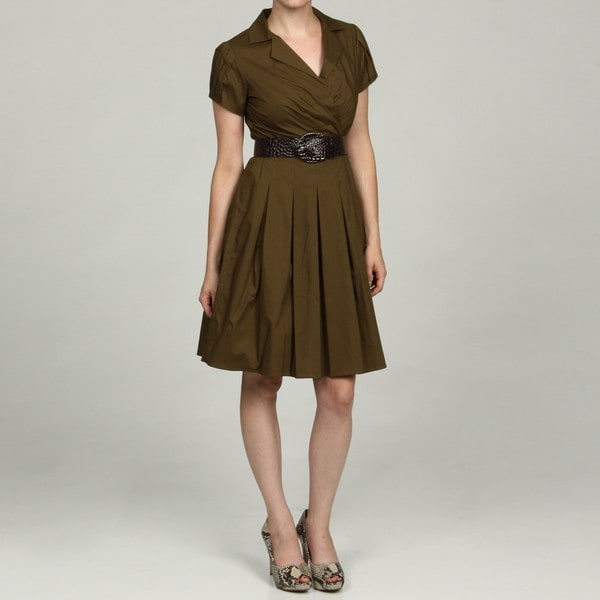 Eliza J Women S Petite Olive Wing Collar Belted Dress
