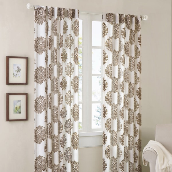 Madison Park Emerson Damask Brown 84-inch Curtain Panel